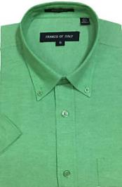 ID#SM1055 Summer Wear Basic Button Down Short Sleeve Green Oxford Dress Cheap Fashion Clearance Shirt Sale Online For Men