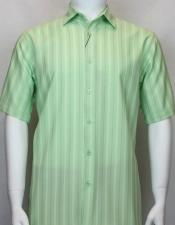 Green Short Sleeve Collared