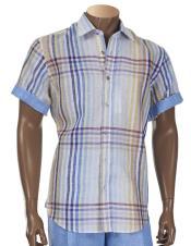 Sleeve Linen Multicolor Button