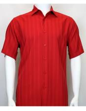 ID#DB21734 Short Sleeve Shadow Stripe Red Cut Cheap Fashion Clearance Shirt Sale Online For Men