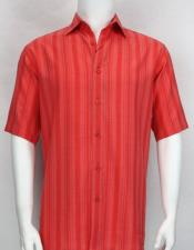 ID#DB21557 Collared Neck Short Sleeve Stripe Red Buttons Closure Cheap Fashion Clearance Shirt Sale Online For Men