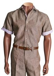 Sleeve Solid Linen Button