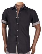 Sleeve Linen Trimming Black