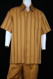 ID#DB23925 Short Sleeve Left Side Pocket Walking Apricot Suit