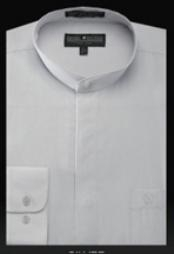 ID#SL607 Basic Banded Collar dress Cheap Fashion Clearance Shirt Sale Online For Men Indian Wedding Outfits ~ Mandarin ~ Nehru Collar Jacket Collarless Style Silver