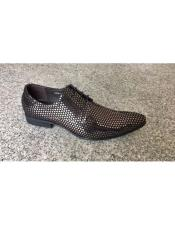 ID#DB19039 Geniune Silver ~ Black Texture Dot Pattern Lace Up Leather Footwear