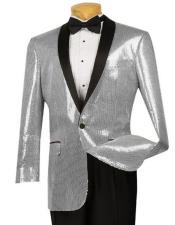 ID#DB20754 Sequin Glitter ~ Shiny Paisley Black Lapel Prom Tuxedo Fancy Party Best Cheap Blazer Black and Silver Suit