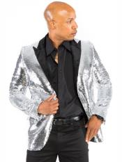 ID#DB24009 Sequin Fabric Mens Silver Grey ~ Gray Blazer Dinner Jacket
