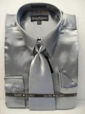 ID#PL222 New Silver Satin Dress Cheap Fashion Clearance Shirt Sale Online For Men Tie Combo Shirts