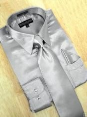 ID#PW782 Satin Silver Grey Dress Cheap Fashion  Clearance Shirt Sale Online For Men Tie Hanky Combo
