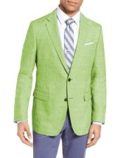 Green Two Buttons Wool
