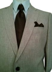 ID#DB22580 2 Button Solid Beige Notch Lapel NEW! $1295 ENZO TOVARE Super 150's Fabric 100% Linen For Beach Wedding Outfit Suit