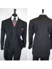 Black Fortino Landi 3 Piece Suits Wide Six Paired Buttons Matching Vested Zoot Suit - Pimp Suit - Zuit Suit