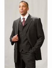 ID#VJ15056 Poly Poplin Single Breasted 3 Piece Notch Lapel Regular Fit Dress Suit Black