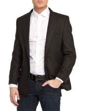 Black Slim Fit Pinstripe 1 Button Best Cheap Blazer For Affordable Cheap Priced Unique Fancy For Men Available Big Sizes on sale Men