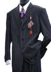 Single Breasted Black Pinstripe Suit