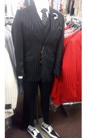 ID#DB23021 Stripe Pattern Black 2 Button Suit