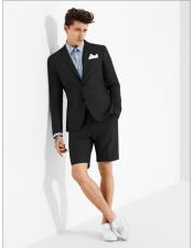 ID#DB24504 2 Button  Black Suits With Shorts Pants Set