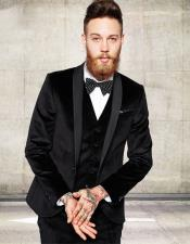 Shawl Lapel Groom Tuxedos Black Velvet Zipper Fly Blazer