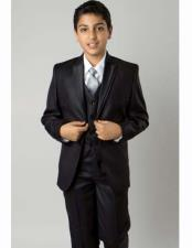 ID#TM15358 All Solid Outfit Double Lapel 5 Piece  3 ~ Three Piece Vested kids suits available in little boys 3 three piece With Groomsmen Shirts ,Tie & Hanky Black