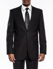 Black Slim Fit Wedding Prom Suit With Pick Stitching