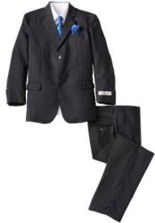 ID#DB21874 2 Button  Notch Lapel Wool Blend Black kids suits available in little boys 3 three piece suit