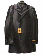 Breasted Pinstripe Pattern Black