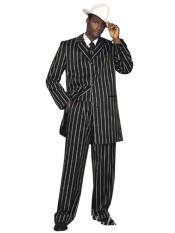 ID#DB17611  Bold Black High Fashion Pronounce White Pinstripe Striped Three Piece 1920s Mens Fashion Clothing Suit