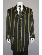 ID#DB17613  Black Bold Pronounce Yellow Pinstripe Three Piece High Fashion Zoot