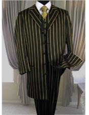 ID#DB17618 Three Piece Black  Bold Pronounce Yellow Pinstripe Zoot Fashion 1920s Mens Fashion Clothing 1930s 50s Outfit Costume Suit