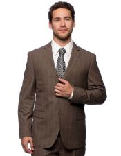 ID#DB22768  2 Button 3 ~ Three Piece Slim Fit Brown Plaid Notch Lapel Vested Cheap Discounted Caravelli suits