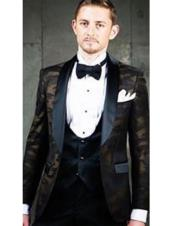 ID#DB23318  Prom ~ Wedding Groomsmen Tuxedo Shawl Black Lapel 3 ~ Three Piece Vested Cheap Discounted Suit