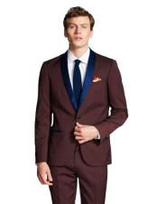 ID#DB23186  Navy Blue Shawl Lapel Burgundy Tuxedo Jacket