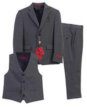 ID#NM1015 Boys 3 Piece  Formal Notch Lapel Vest Toddler Boy Suits for Weddings With Pants Set Dark Charcoal