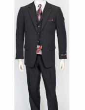 ID#VJ15076 Poly Poplin 3 Piece Single Breasted Dress Suit Wth Pleated Pant Charcoal