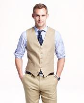men's Vest and Pants Set - Modern Fit 5 Button Cream Linen Outfits For Men Perfect for wedding Vest & Pants