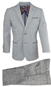2 Button Gray Linen