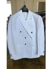ID#DB17687 Cotton Fabric White Double breasted Two Button Cuff suit
