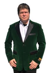 ID#DB23147 Green  2 Button Velvet Big and Tall Large Man ~ Plus Size Notch Lapel Clearance Blazer Suit Jacket