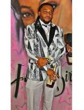 ID#DB23346 Button Closure Gray Black Fancy Designed Suit