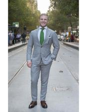 ID#DB21371 Cheap Clearance Sale Extra Slim Fit Prom Notch Lapel Grey Suit Green Tie 2 Button