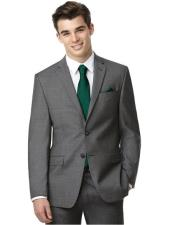 2 Button Cheap Clearance Sale Prom Grey - Extra Slim Fit Suit - Fitted Suit - Skinny Suit Green Tie