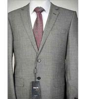 ID#NM220 Men's Grey Italian 2 Piece Notch Lapel Birdseye Wool Suit