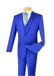 ID#VJ15053 100% Wool  3 ~ Three Piece Executive Suit - Narrow Leg Flat Front Pants Bright Blue Indigo