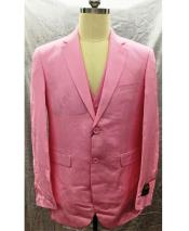ID#DB24616  Linen For Beach Wedding outfit 2 Button Notch Lapel Pink Vest Suit