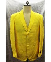ID#DB24619  Linen For Beach Wedding outfit Yellow Vest 2 Button Suit