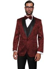 ID#DB23204  Notch Lapel Double Vent Modern Fit Maroon Wedding Burgundy Prom Suit