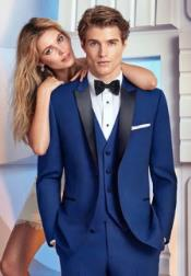ID#DB22756  Navy Blue Satin 1 Button Vested Tuxedo