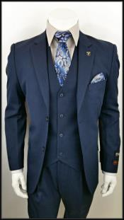 ID#DB17856 Alberto Nardoni  3 Piece Navy 2 Button Notch Lapel suit