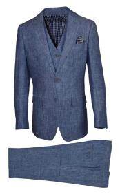Notch Lapel Navy Linen